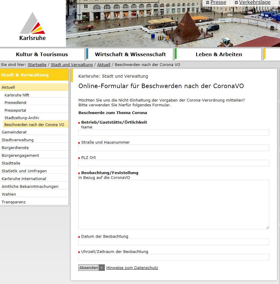 Internetauftritt Stadt Karlsruhe; Screenshot vom 12.08.2020