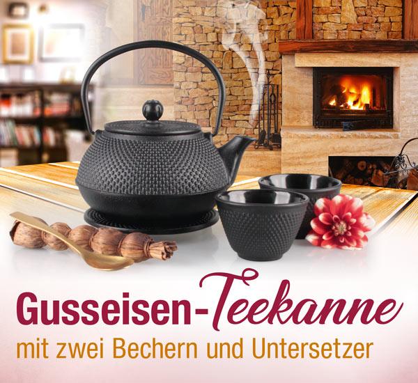Gusseisen-Teekanne mit zwei Bechern und Untersetzer - Kopp Verlag -35,99 Euro