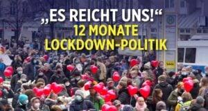 """12 Monate Lockdown-Politik: """"es reicht uns""""-Demonstranten berichten; Bild: Startbild Youtube"""