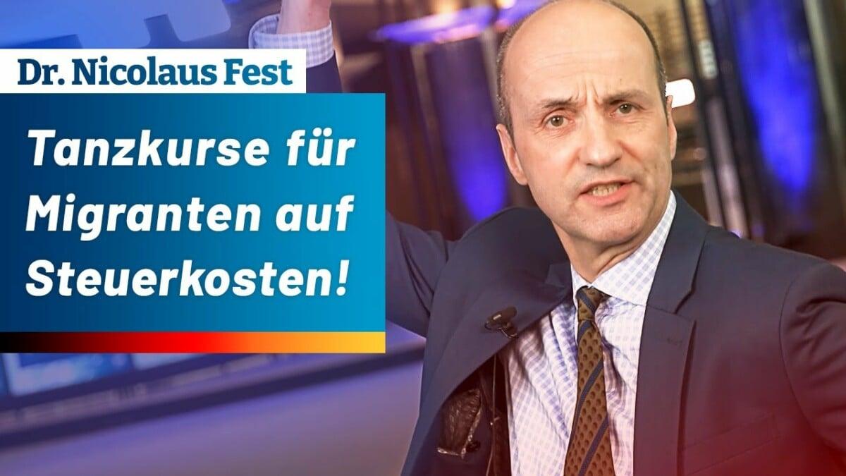 Tanzkurse für Migranten auf Steuerkosten! – Dr. Nicolaus Fest (AfD); Bild: Startbild Youtube