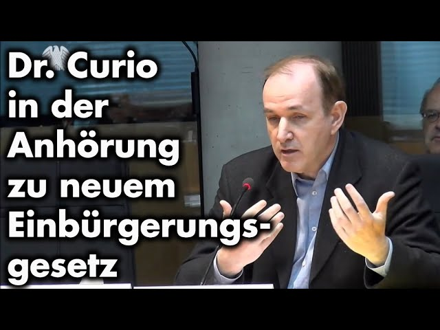 Dr. Curio deckt Kuckuckseier im neuen Staatsbürgerschaftsgesetz auf - Anhörung im Innenausschuß; Bild: Startbild Youtube